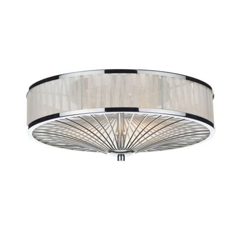 Flush Fitting Ceiling Lights Uk Decorative Modern Flush Ceiling Light In Chrome With Ribbon Shade