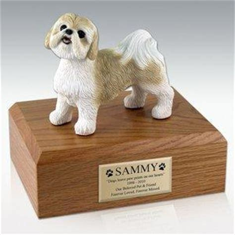 shih tzu urn shih tzu gold white figurine pet cremation urn