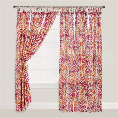 Pink And Orange Ikat Crinkle Voile Curtains Set Of 2