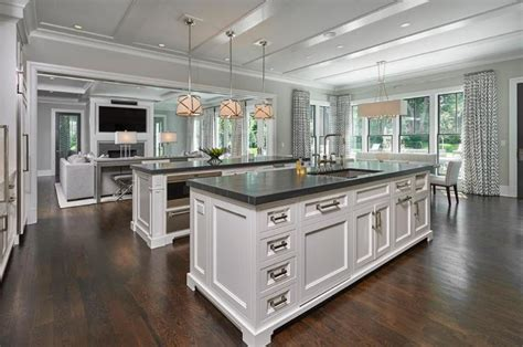 beautiful kitchens with islands quartz waterfall countertop interior designs