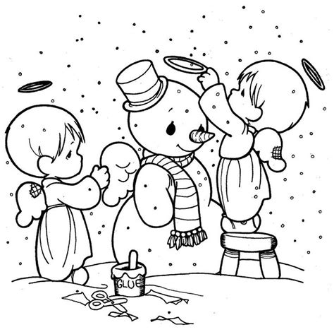 making snowman precious moments coloring pages christmas
