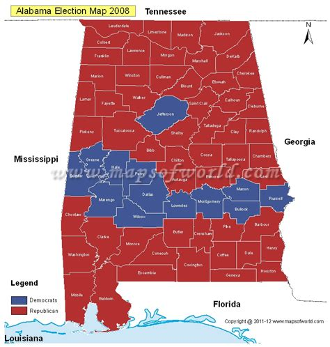 political map of alabama alabama election results map 2004 vs 2008 us election