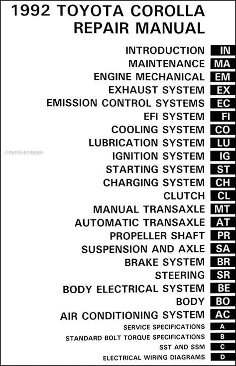 car repair manuals online pdf 1992 toyota corolla electronic valve timing 1992 toyota corolla repair shop manual original