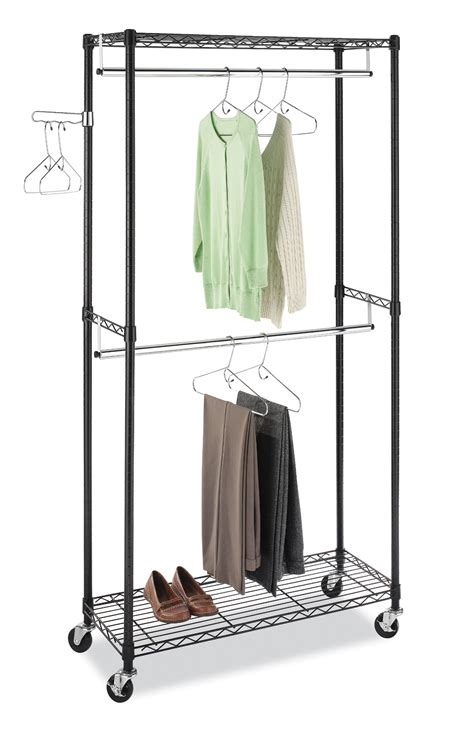 hanging clothes storage new double hanging garment rack wheeled clothes storage