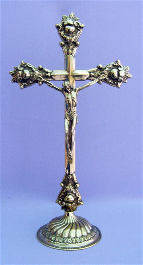 large ornate altar crucifix shiny brass table standing