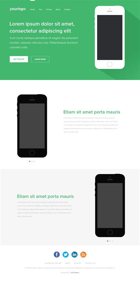 free mobile app landing page template freebies gallery
