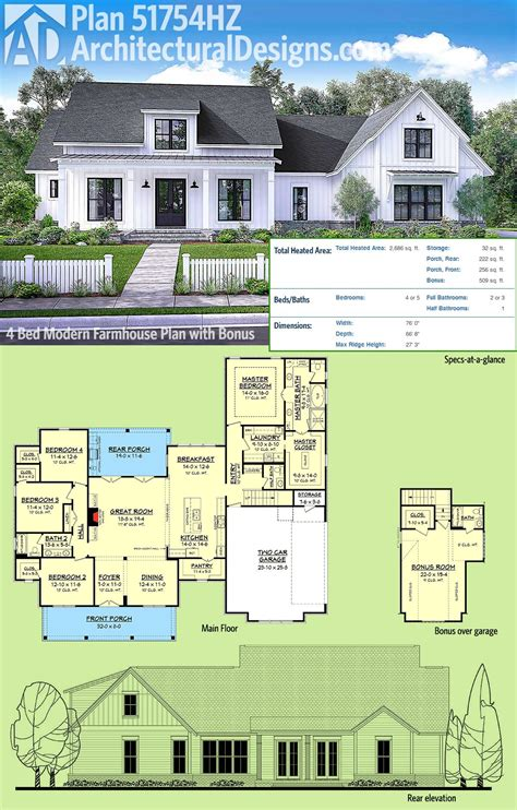 farmhouse architectural plans plan 51754hz modern farmhouse plan with bonus room
