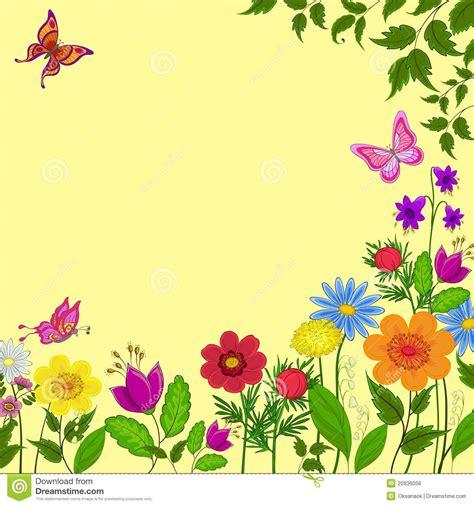 imagenes de mariposas y flores en caricatura flores mariposas y hojas ilustraci 243 n del vector imagen