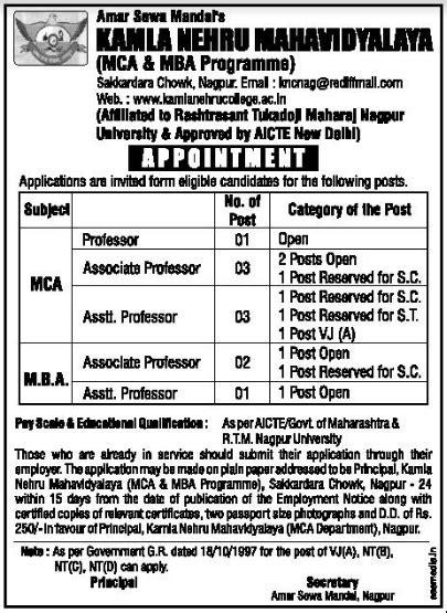 Kamla Nehru College Nagpur Mba by Kamla Nehru Mahavidyalaya Wanted Professor Associate