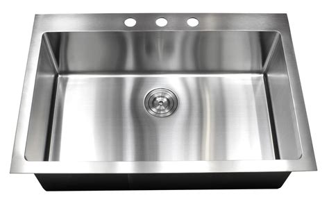 Drop In Stainless Steel Kitchen Sink 33 Inch Top Mount Drop In Stainless Steel Single Bowl Kitchen Sink
