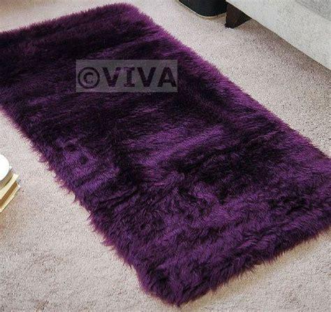 purple sheepskin rug plum aubergine purple faux fur oblong rectangle shape sheepskin style rug washable mat rugs