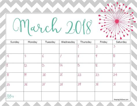Calendar 2018 February And March Free 2018 Calendar To Print Keeping Sane