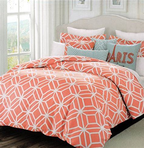 pattern bed sheets max studio modern lattice geometric pattern queen full 3pc duvet cover set coral red