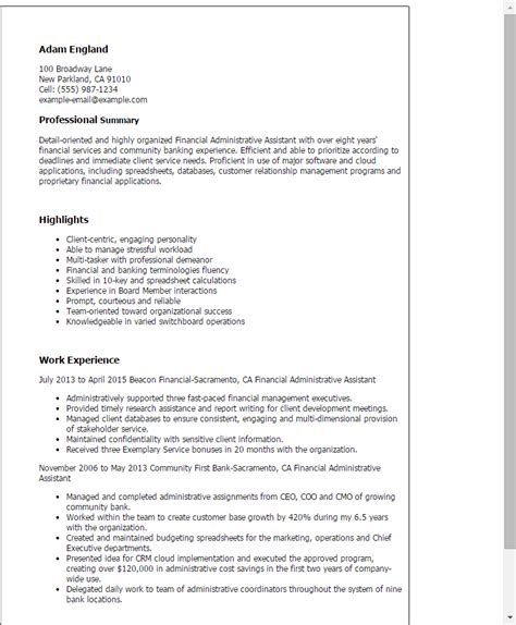 Key Accomplishments Exles Administrative Assistant 1 Financial Administrative Assistant Resume Templates
