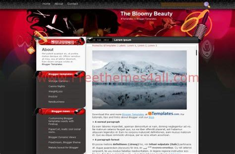 free templates for blogger beauty pink red beauty salon blogger template download