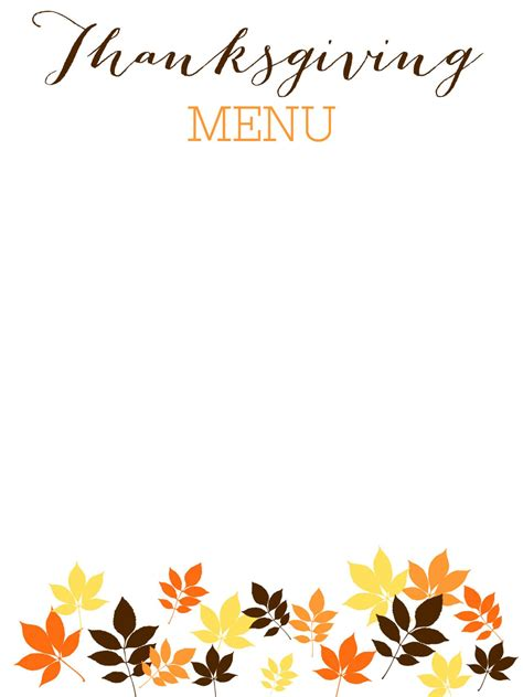 thanksgiving menu templates free thanksgiving menu template word images