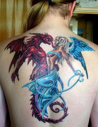 tattoo angel gothic attractive gothic dragon with angel tattoo on full back
