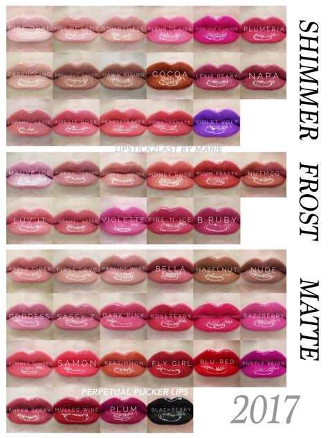 lipsense color chart 50 lipsense colors chart by finish lipsense shimmer