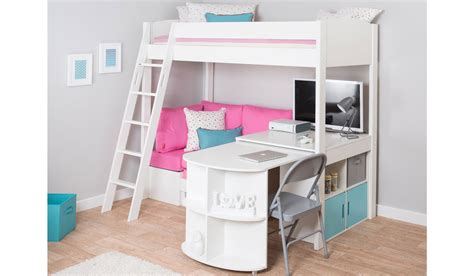 mi zone h5 high sleeper bed frame with pull out desk and