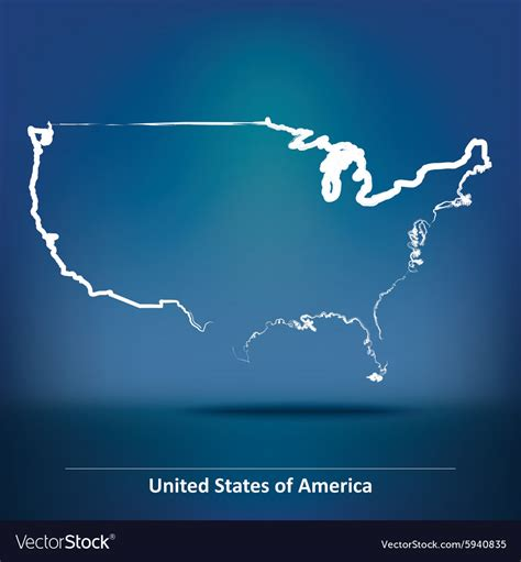 doodle 4 united states doodle map of united states of america royalty free vector