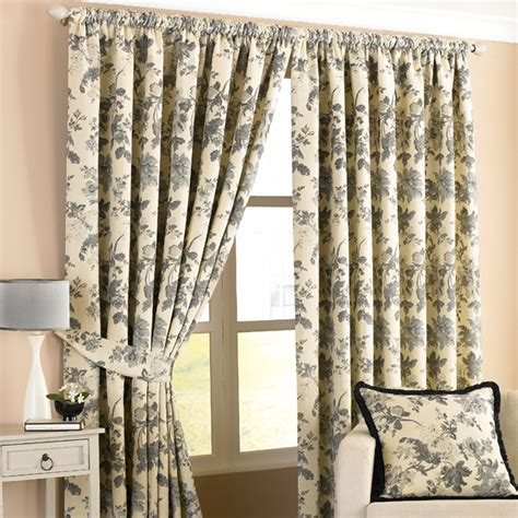 ivory and black curtains berkshire floral woven lined pencil pleat curtains black