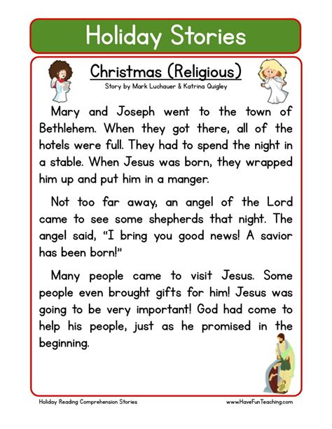 grade 2 reading comprehension christmas reading comprehension worksheet religious