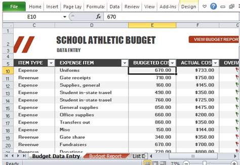 Athletic Budget Template For Excel Sports Program Templates