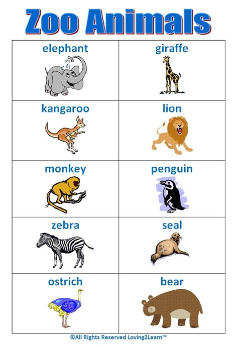 printable zoo animal book super quot zoo animals quot chart www loving2learn com early