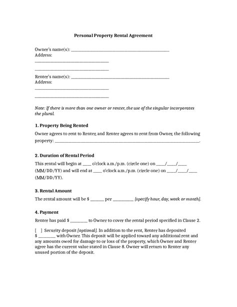 basic rental agreement template enom warb co