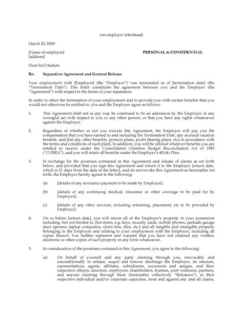 Separation Agreement And General Release General Release Agreement Template