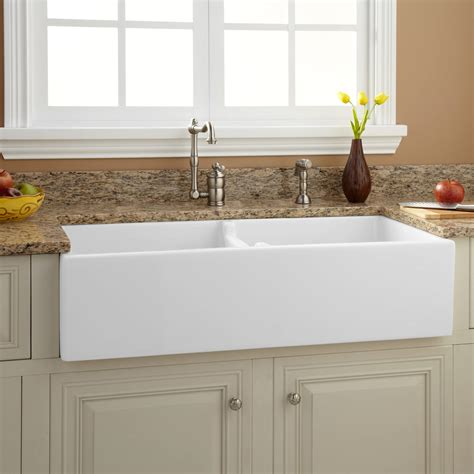 pictures of farmhouse sinks 39 quot risinger double bowl fireclay farmhouse ebay