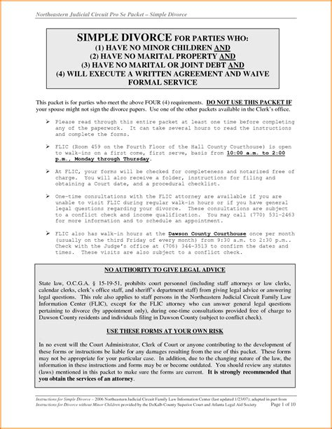 7 Divorce Papers In Georgia Divorce Document Divorce Papers Template