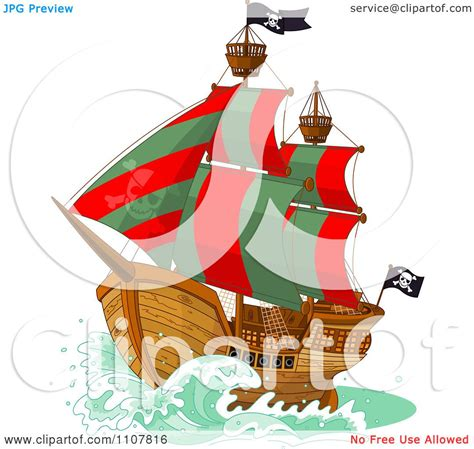 libro the green ship red clipart pirate ship with red and green sails and jolly roger flags royalty free vector