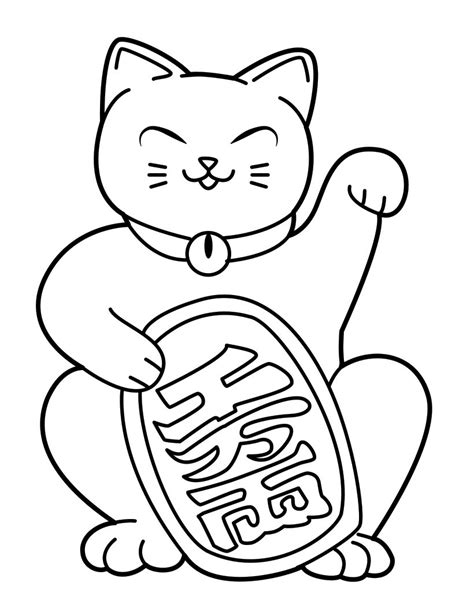 chinese cat coloring page japanese coloring pages coloringsuite com