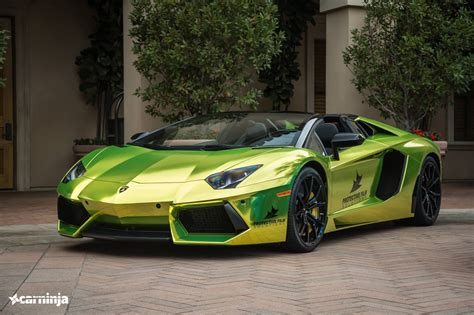 chrome lamborghini lamborghini aventador roadster in tennis ball yellow chrome