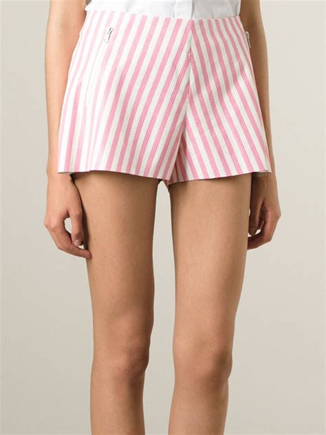 Pink Stripe Shorts From Delias by Lyst Drome Perforated Striped Shorts In Pink