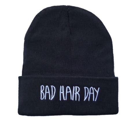 letter beanie knit black bad hair day beanie hat letter
