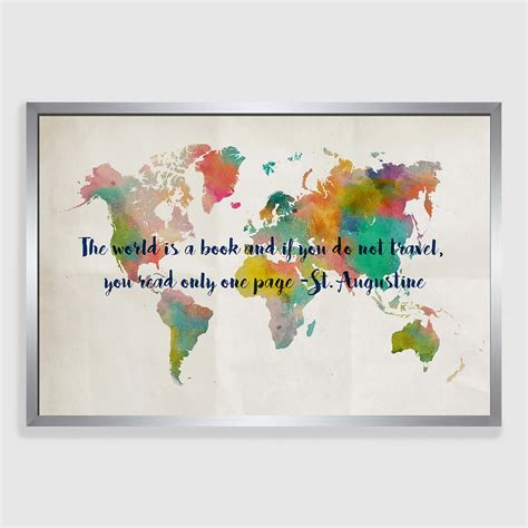 printable world map wall art travel map framed canvas print world market