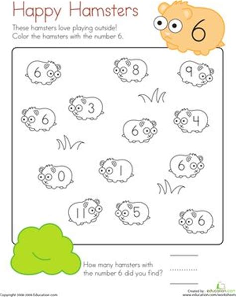 Happy Numbers Worksheet by Coloring 6 Happy Hamsters Colors Plays And Number