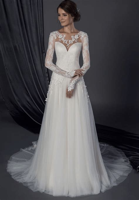 Modest long sleeve Wedding gown with lace sleeves