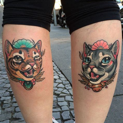 matching cat tattoos matching cat tattoos on both calfs
