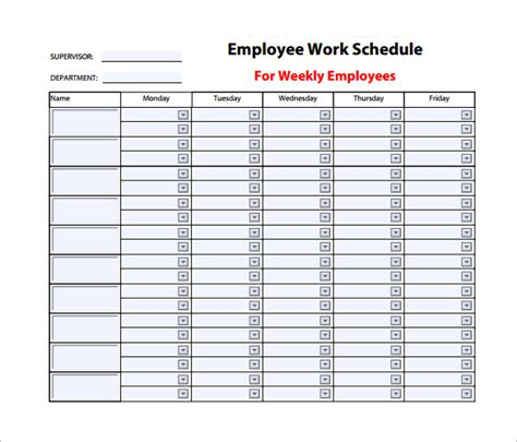 weekly work schedule template 14 free word excel pdf