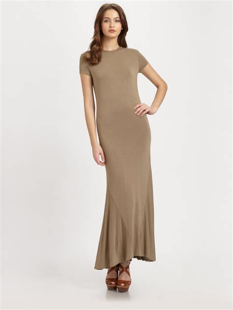 Knit Maxi Dress ralph blue label jersey knit maxi dress in brown