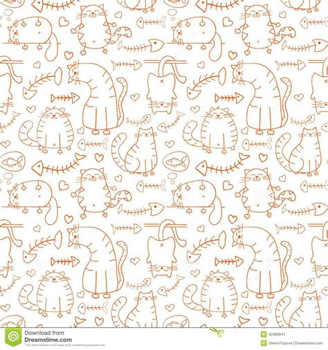 sketch pattern background funny cartoon sketch cats background stock vector