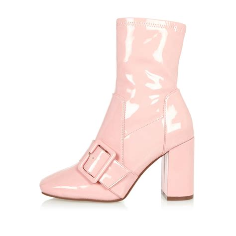 pink ankle boots lyst river island pink patent stretch ankle boots in pink