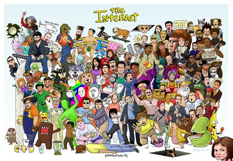a massive collection of internet memes assembled in one poster
