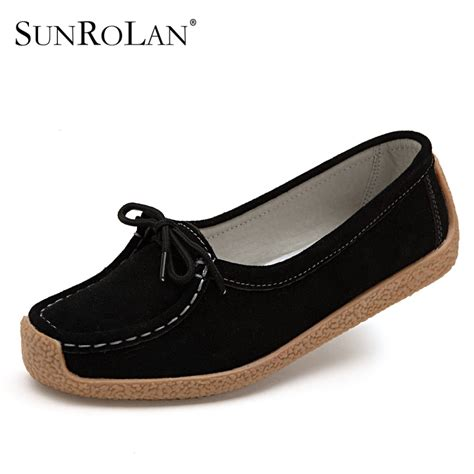 of shoes black suede mothers aliexpress buy sunrolan 2017 flats shoes lace upcow suede loafers black