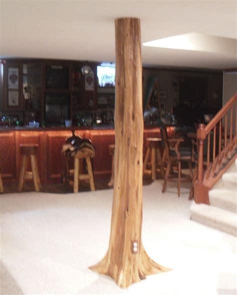 basement wrap authentic cedar log basement pole covers support post wrap