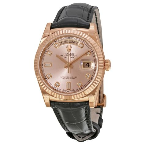 Rolex Leather Date rolex day date president automatic pink chagne