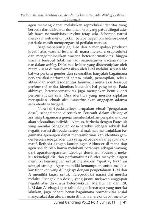 Identitas Perempuan Indonesia Status Pergeseran Relasi Gender Dan P jurnal gandrung vol2 no1 e jurnal